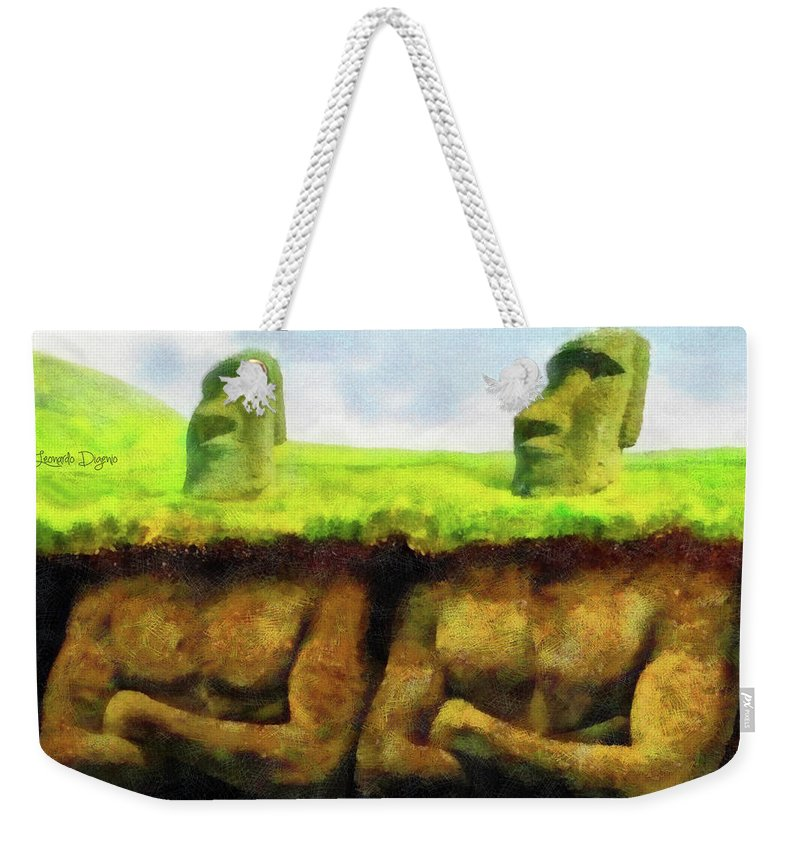 Anakena Weekender Tote Bag featuring the painting Easter Island Truth by Leonardo Digenio