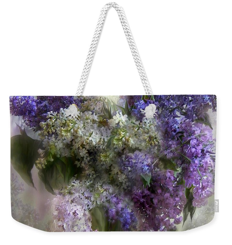 Lilacs Weekender Tote Bag featuring the mixed media Easter Lilacs by Carol Cavalaris