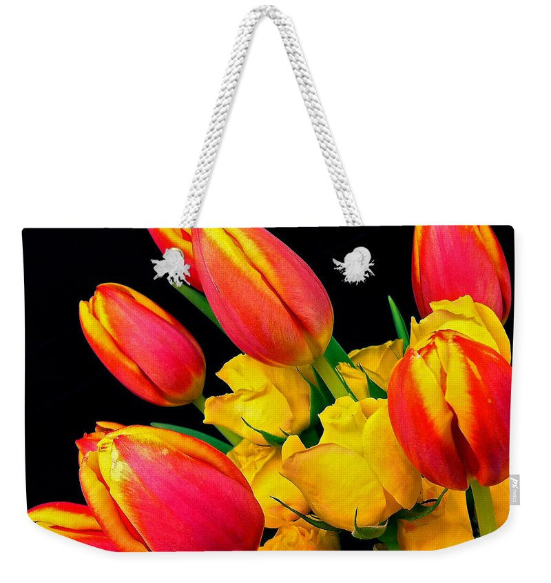 Tulip Weekender Tote Bag featuring the photograph Easter Tulips And Roses by Marie Hicks