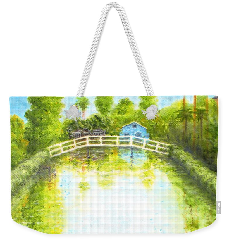 Canal Weekender Tote Bag featuring the painting Eastern Canal Impression by Jerome Stumphauzer