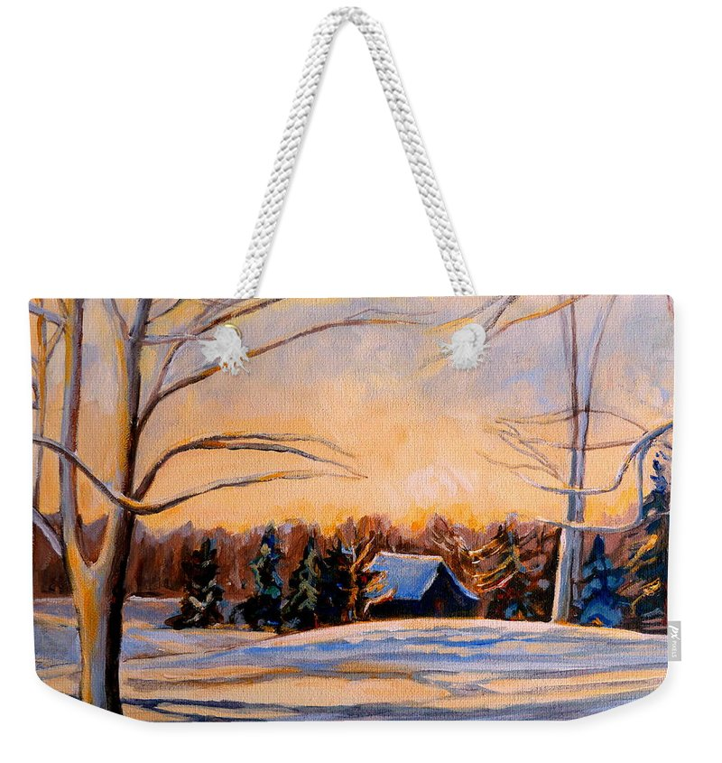 Winter Landsacape Weekender Tote Bag featuring the painting Eastern Townships In Winter by Carole Spandau