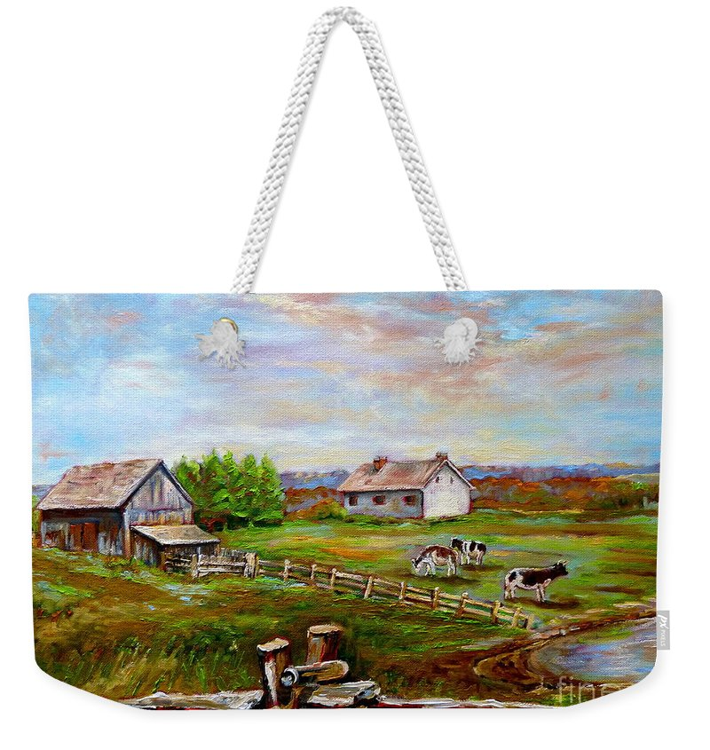 Ile D'orleans Weekender Tote Bag featuring the painting Eastern Townships Quebec Country Scene by Carole Spandau