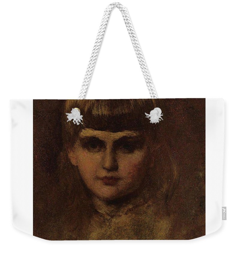 Girl Weekender Tote Bag featuring the painting Eastman Johnson 1824-1906 Young Girl by Artistic Rifki