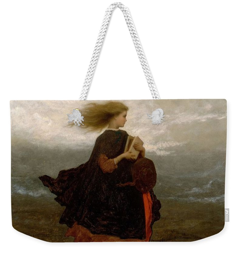 Girl Weekender Tote Bag featuring the painting Eastman Johnson - The Girl I Left Behind Me by Eastman Johnson