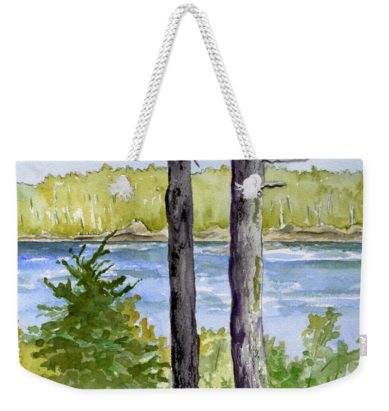 Landscape Seascape Trees Ocean Sea Maine Weekender Tote Bag featuring the painting Eastport Maine Coastal Afternoon by Brenda Owen