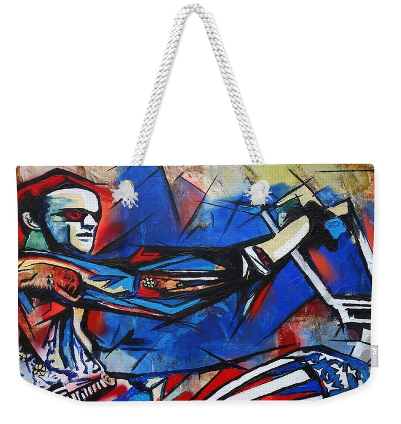 Peter Fonda Weekender Tote Bag featuring the painting Easy Rider Captain America by Eric Dee