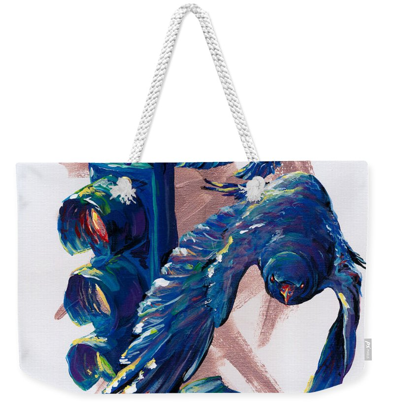 Crow Weekender Tote Bag featuring the painting Easy Street by Sara Jo Rosenberg