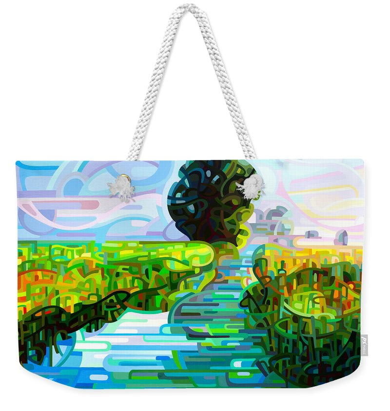 Abstract Weekender Tote Bag featuring the painting Ebb And Flow by Mandy Budan