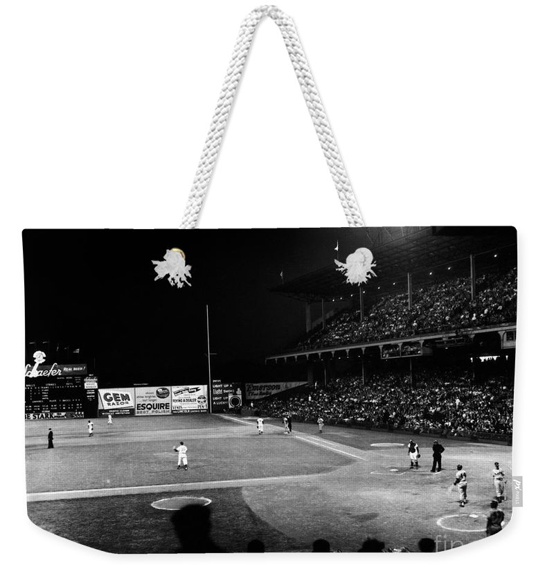 1957 Weekender Tote Bag featuring the photograph Ebbets Field, 1957 by Granger
