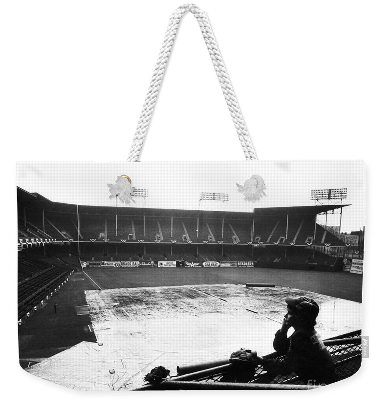 1950 Weekender Tote Bag featuring the photograph Ebbets Field, C1950 by Granger