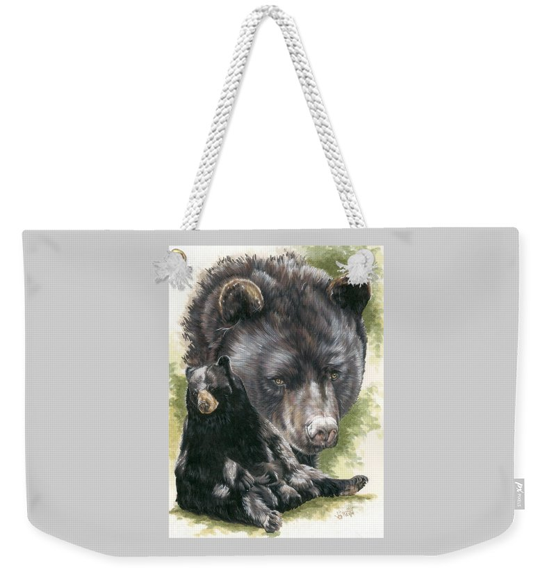 Black Bear Weekender Tote Bag featuring the mixed media Ebony by Barbara Keith
