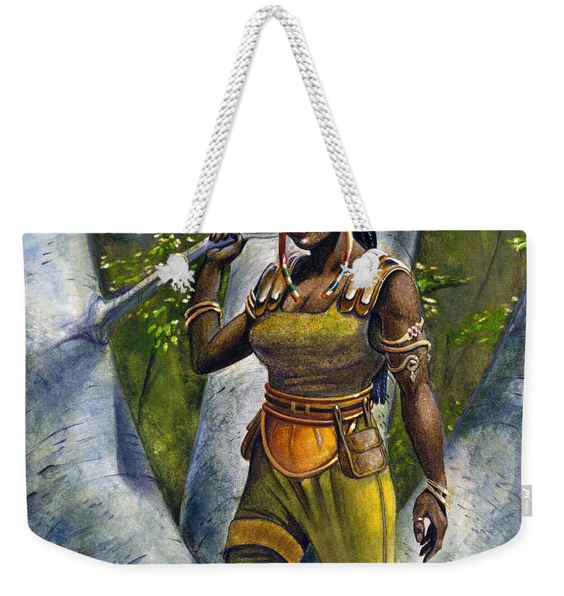Elf Weekender Tote Bag featuring the painting Ebony Elf by Melissa A Benson