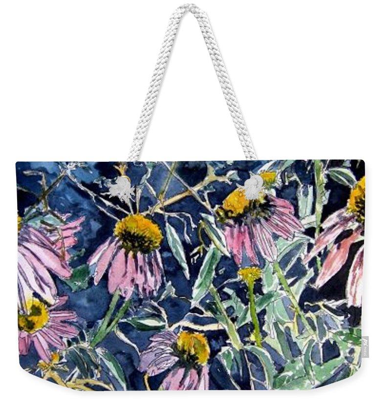 Echinacea Weekender Tote Bag featuring the painting Echinacea Cone Flower Art by Derek Mccrea