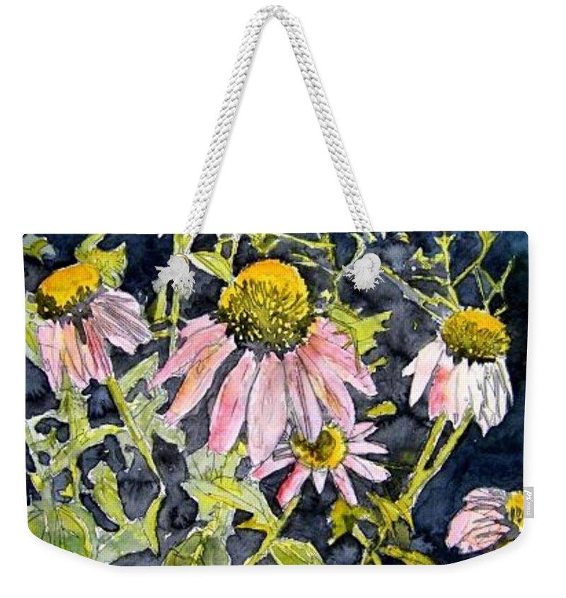 Echinacea Weekender Tote Bag featuring the painting Echinacea Coneflower 2 by Derek Mccrea
