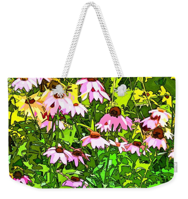 Contemporary Weekender Tote Bag featuring the digital art Echinacea Imagined by Linda Mears