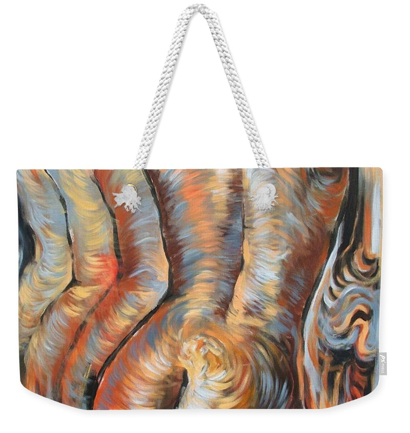 Surrealism Weekender Tote Bag featuring the painting Echo Of A Nude Gesture by Darwin Leon