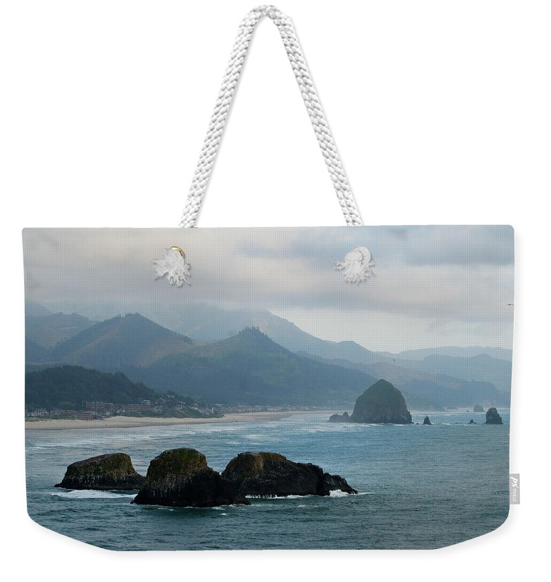 Oregon Weekender Tote Bag featuring the photograph Ecola State Park View Of Haystack Rock And 3 Arch Rocks by Renee Hong