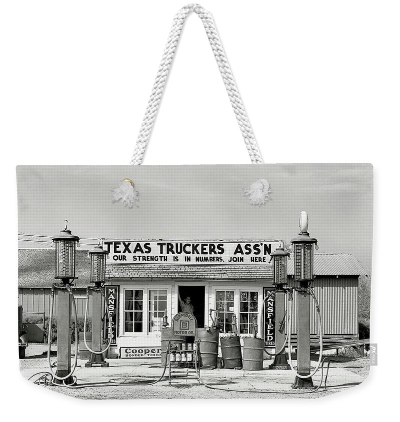 Gas Station Weekender Tote Bag featuring the photograph Edcouch Texas Gas Station 1939 by Daniel Hagerman