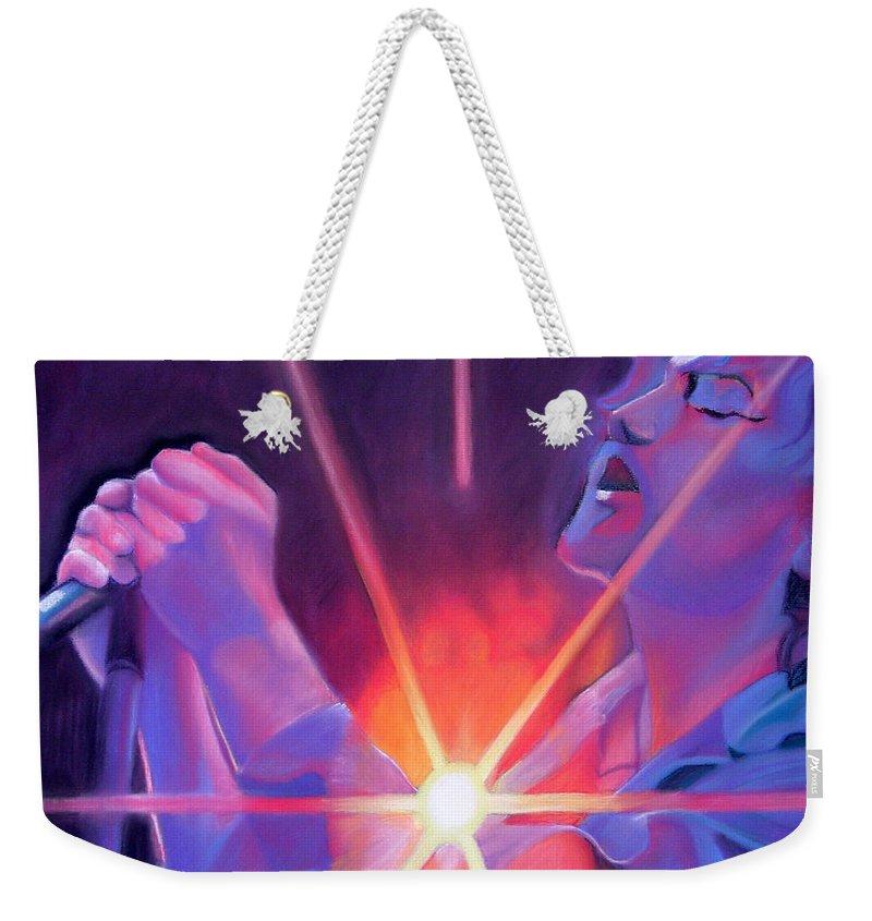 Eddie Vedder Weekender Tote Bag featuring the drawing Eddie Vedder And Lights by Joshua Morton