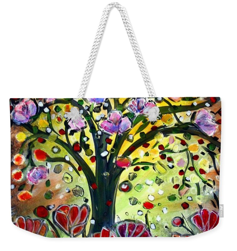 Flowers Weekender Tote Bag featuring the painting Eden Garden by Luiza Vizoli