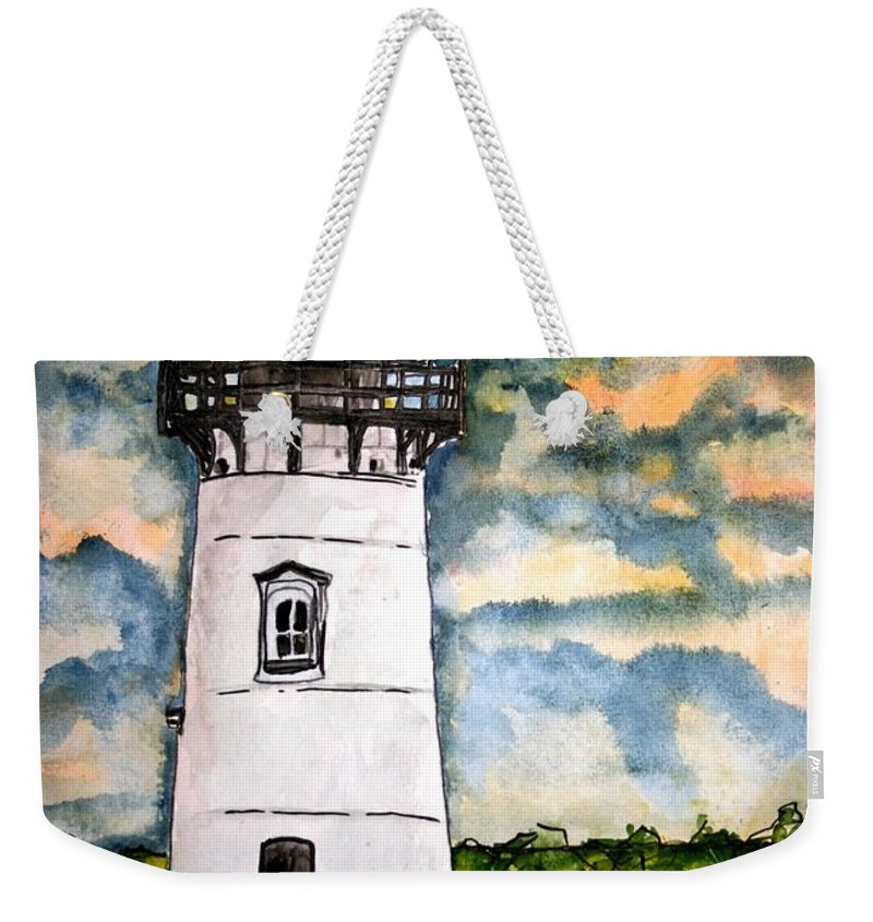 Lighthouse Weekender Tote Bag featuring the painting Edgartown Lighthouse Martha's Vineyard Mass by Derek Mccrea