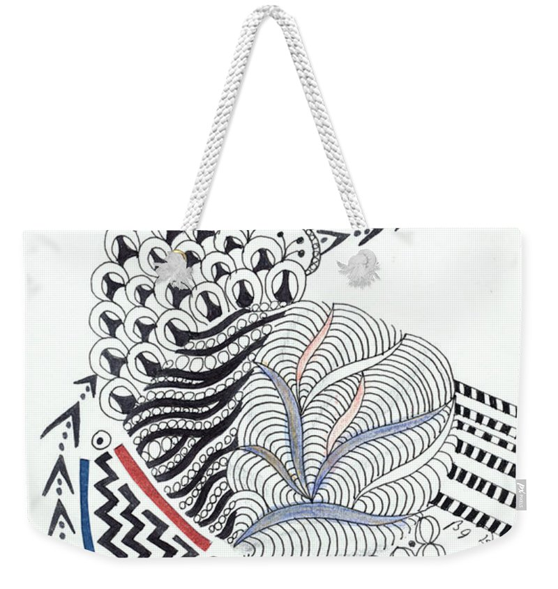 Zentangle Weekender Tote Bag featuring the drawing Edged In Blue by Bev Donohoe