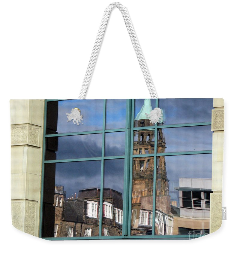 Reflection Weekender Tote Bag featuring the photograph Edinburgh Self Interpreted by Amanda Barcon