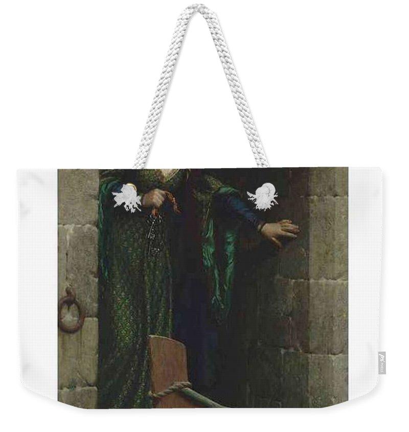 Girl Weekender Tote Bag featuring the painting Edmund Blair Leighton 1852-1922 The Keys by Edmund Blair Leighton