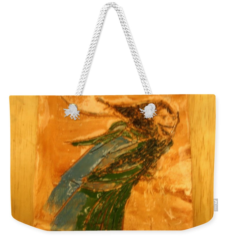 Jesus Weekender Tote Bag featuring the ceramic art Edna - Tile by Gloria Ssali