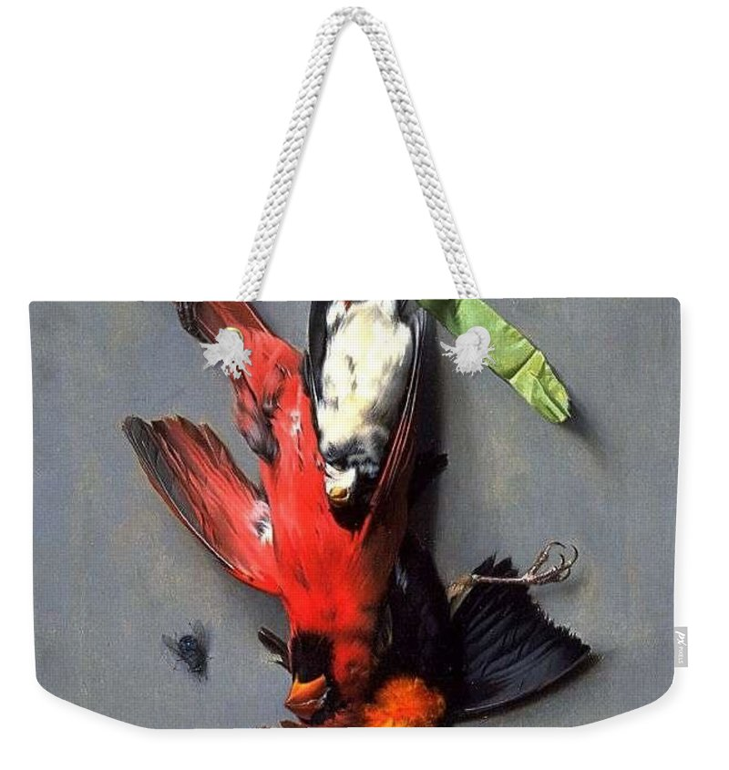 Nature Weekender Tote Bag featuring the painting Eduard Quitton Still Life With Green Ribbon, Fly, And Four American Birds by Eduard Quitton