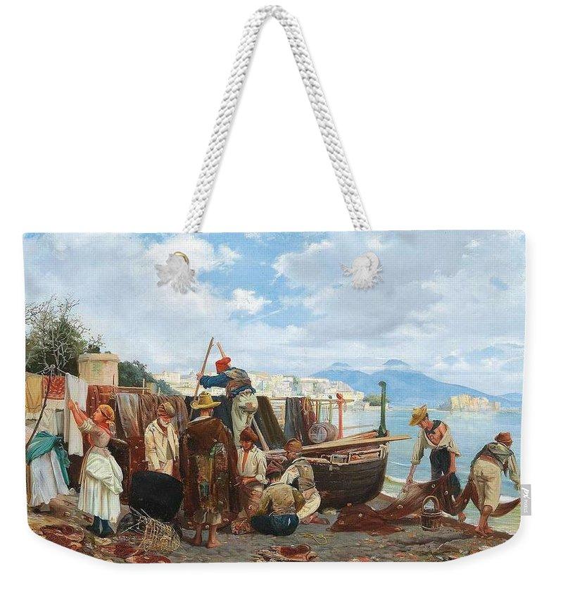 Nature Weekender Tote Bag featuring the painting Eduardo Matania - Fishing Family In The Bay Of Naples 1872 by Eduardo Matania