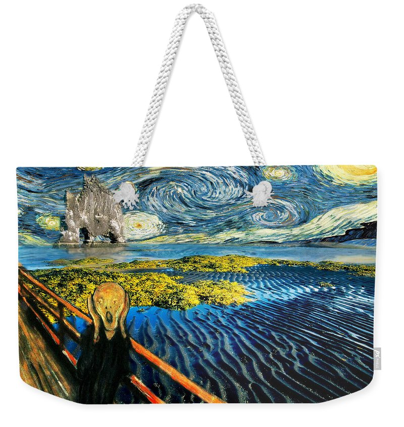 Van Gogh Weekender Tote Bag featuring the painting Edvard Meets Vincent Posters by Gravityx9 Designs