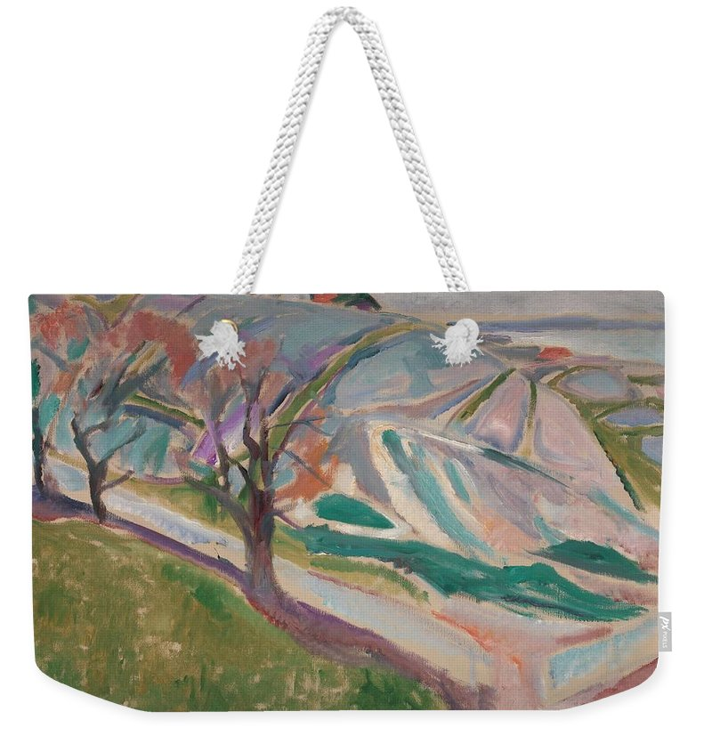 Art Weekender Tote Bag featuring the painting Edvard Munch , Landscape, Kragero by Edvard Munch