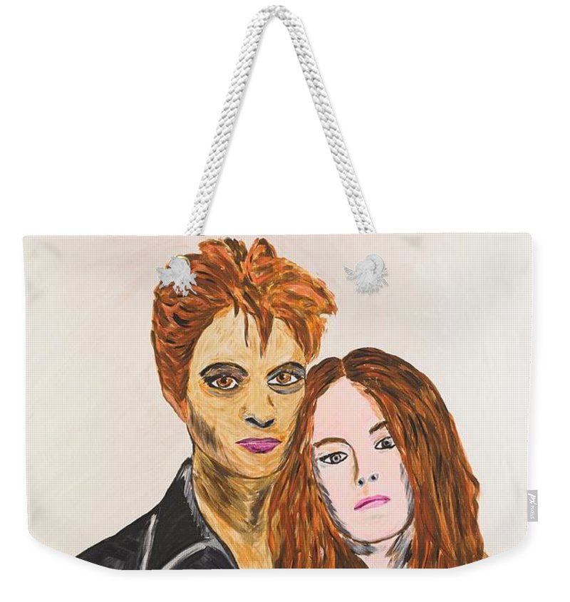 Edward Weekender Tote Bag featuring the painting Edward And Bella by Valerie Ornstein