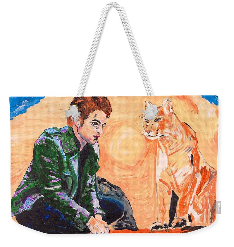 Edward Weekender Tote Bag featuring the painting Edward Cullen And His Diet by Valerie Ornstein