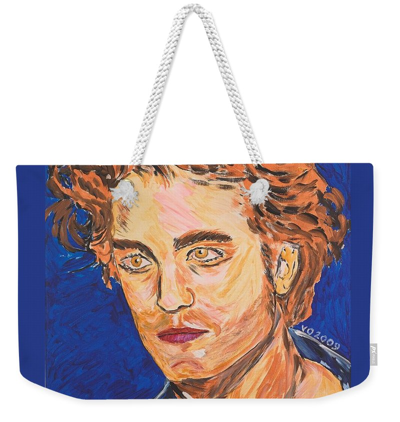 Edward Weekender Tote Bag featuring the painting Edward Cullen by Valerie Ornstein