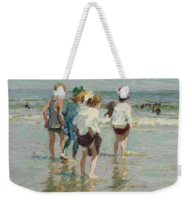 Beach Weekender Tote Bag featuring the painting Edward Henry Potthast 1857 - 1927 Summer Day, Brighton Beach by Edward Henry Potthast
