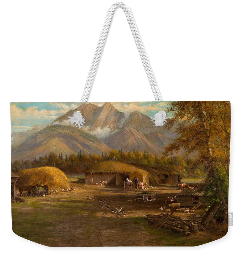 Nature Weekender Tote Bag featuring the painting Edward Hill 1843-1923 Adamsons Ranch, Utah by Edward Hill