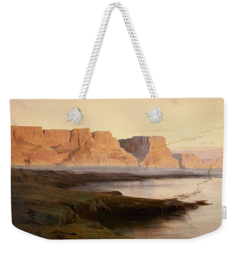 Nature Weekender Tote Bag featuring the painting Edward Lear The Rocks At Kasr Es Saad by Edward Lear