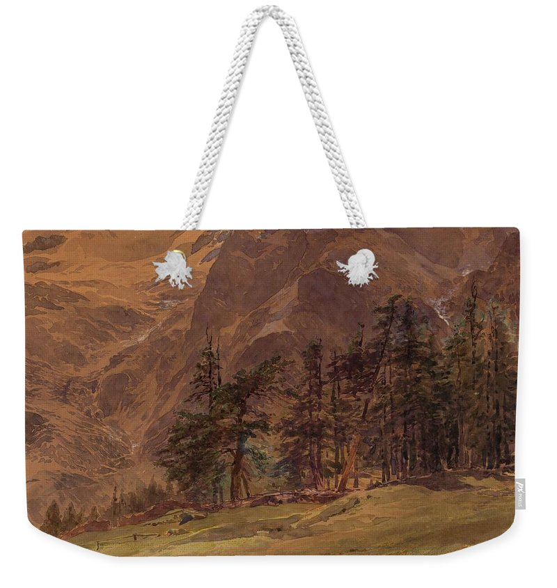 Nature Weekender Tote Bag featuring the painting Edward Theodore Compton American 1849-1921 Mountains At Twilight, 1907 by Edward Theodore Compton
