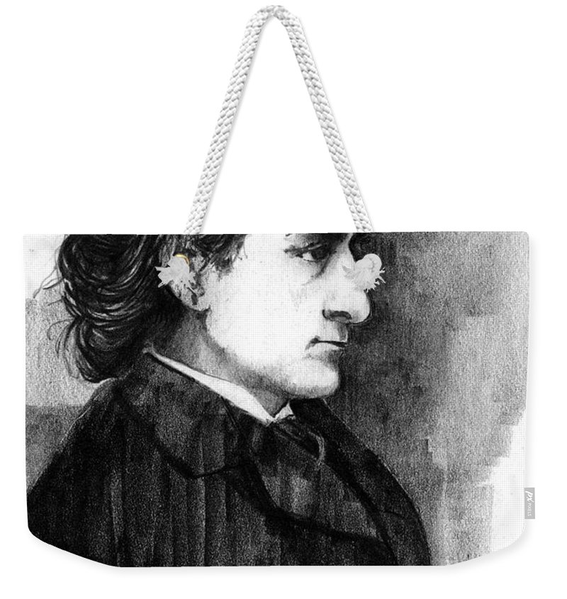 Men Weekender Tote Bag featuring the drawing Edwin Booth by Paul Sachtleben