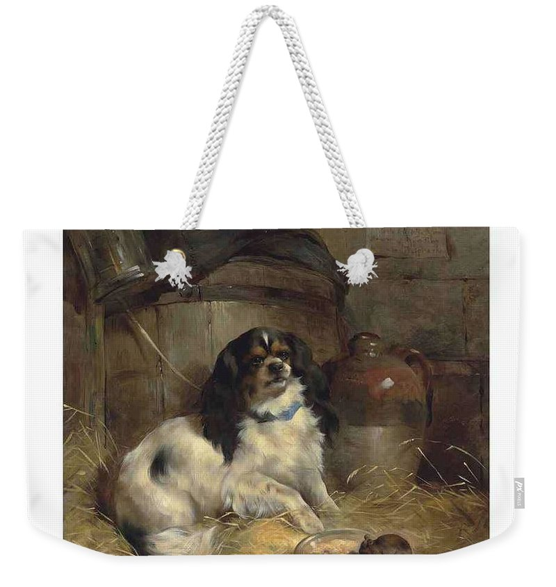 Art Weekender Tote Bag featuring the painting Edwin Douglas 1848-1914 A Cavalier King Charles Spaniel by Edwin Douglas