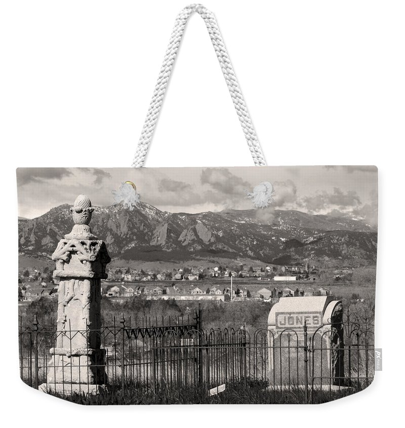 Cemetary Weekender Tote Bag featuring the photograph Eerie Cemetery by James BO Insogna