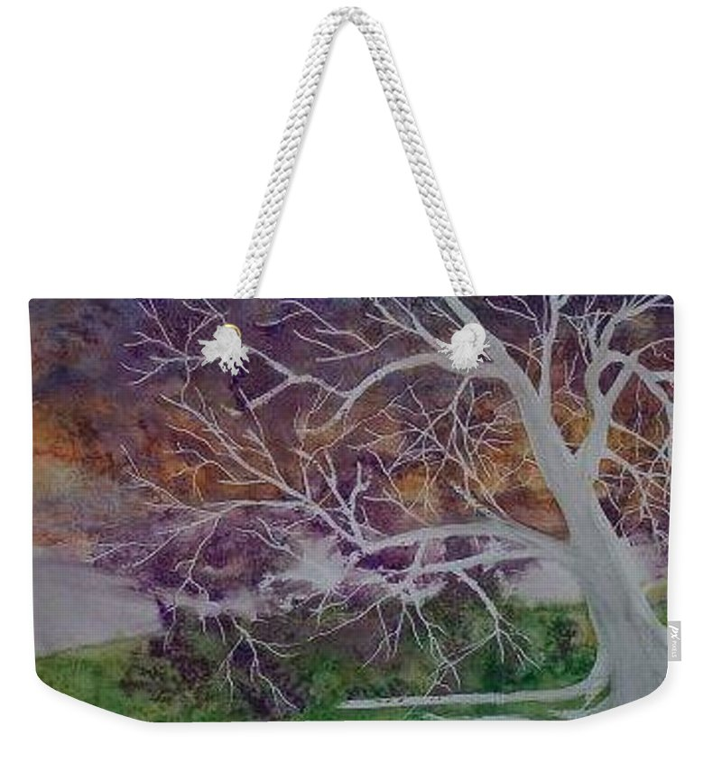 Watercolor Weekender Tote Bag featuring the painting EERIE gothic landscape fine art surreal print by Derek Mccrea