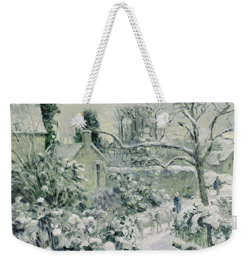 Effect Weekender Tote Bag featuring the painting Effect Of Snow With Cows At Montfoucault by Camille Pissarro