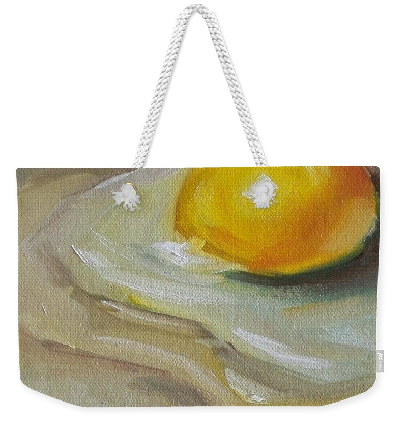 Egg Weekender Tote Bag featuring the painting Egg Yolk No. 1 by Kristine Kainer
