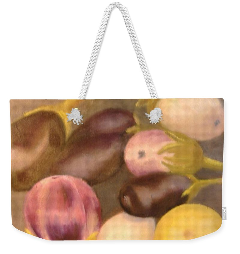 Vegestables Weekender Tote Bag featuring the painting Eggplant by Pat Snook
