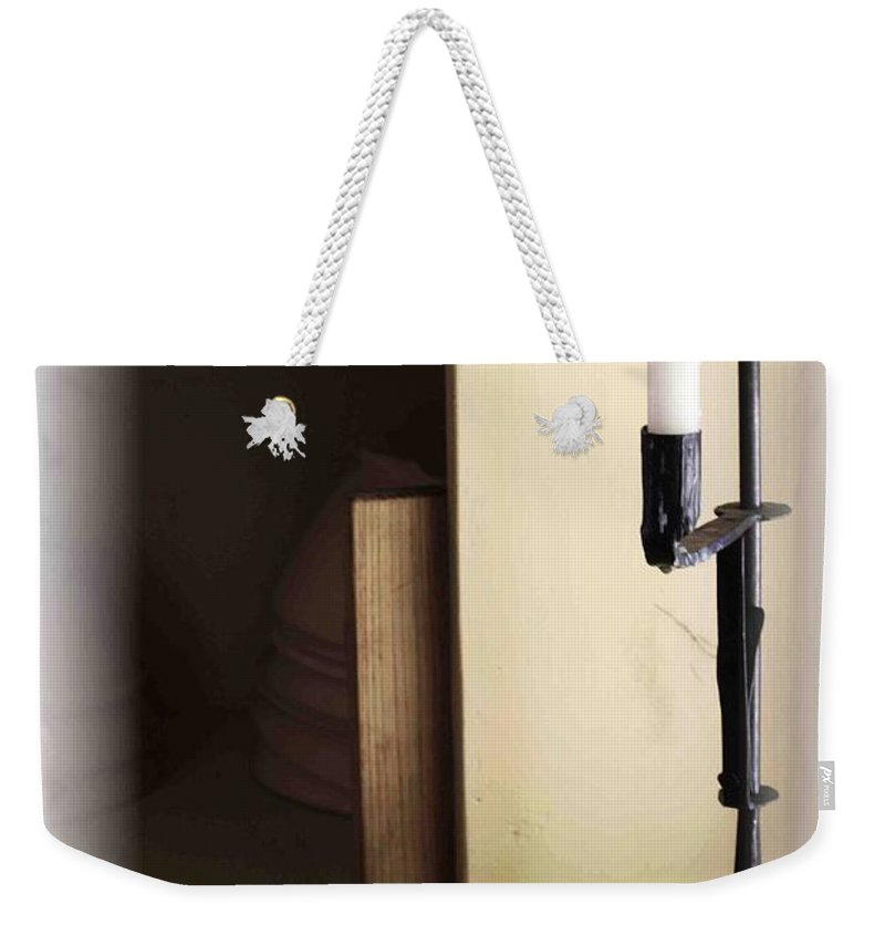 Still Life Weekender Tote Bag featuring the photograph Eggs And Candlestick by Nelson Strong