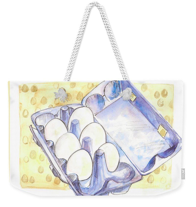 Eggs Weekender Tote Bag featuring the painting Eggs by Yana Sadykova