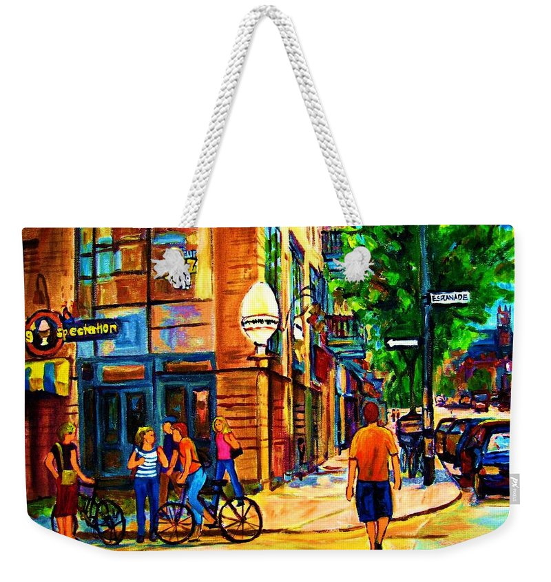 Eggspectation Cafe On Esplanade Weekender Tote Bag featuring the painting Eggspectation Cafe On Esplanade by Carole Spandau